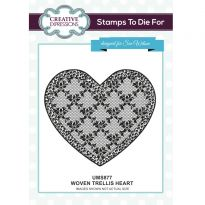 Woven Trellis Heart Pre Cut Stamp