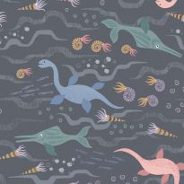 Lewis & Irene - Fat Quarter - Jurassic Sea on charcoal