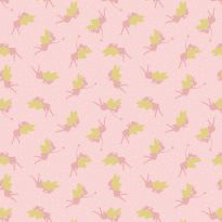 Lewis & Irene - Fat Quarter - Fairies on pink (with gold metallic)
