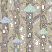 Lewis & Irene - Fat Quarter - Fairy Houses on natural