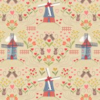 Lewis & Irene - Fat Quarter - Windmills on lemon