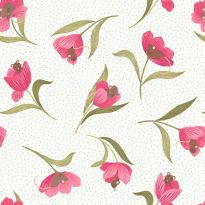 Lewis & Irene - Fat Quarter - Mouse & Tulip on cream