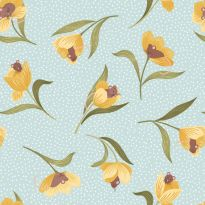 Lewis & Irene - Fat Quarter - Mouse & Tulip on pale blue
