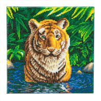 Framed Crystal Art Kit 30cm x 30cm - Tiger Pool