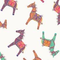 Debbie Shore's New Delhi Fabric - Indian Horses (fat quarter)