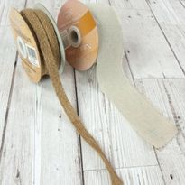 Natural Linen Frayed Edge 50mm x 10m reel