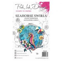 Pink Ink Designs A5 Clear Stamp - Seahorse Swirls