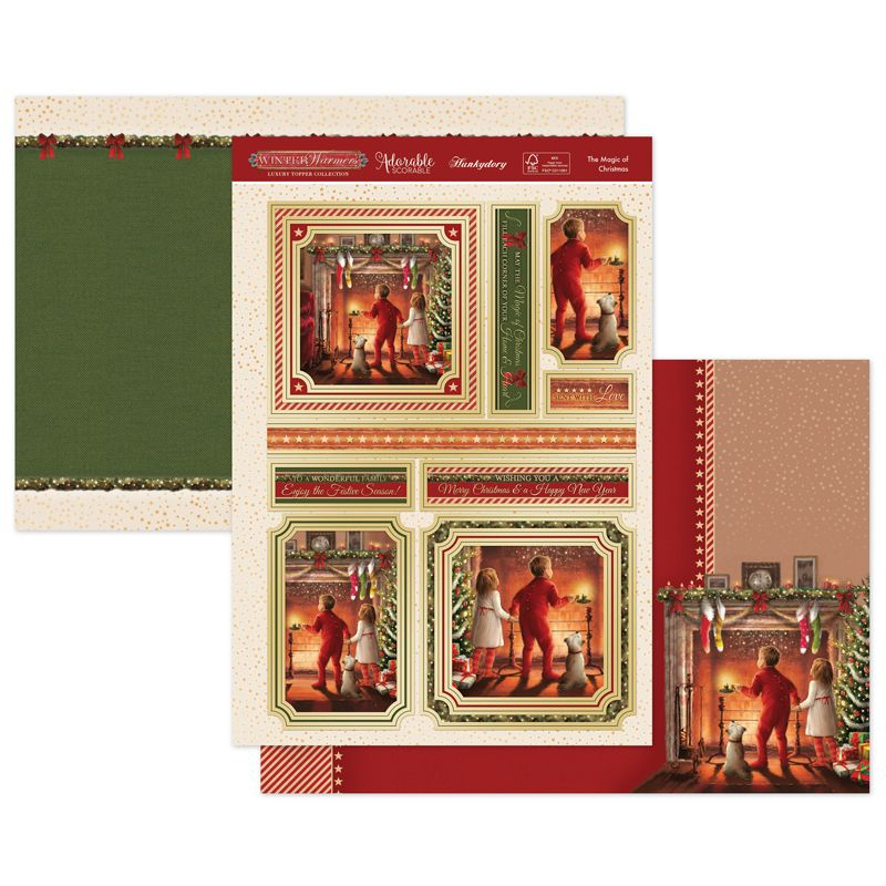 Gold Foiled /& Die Cut Fabulous Christmas A4 Sheet Toppers Chic Lady