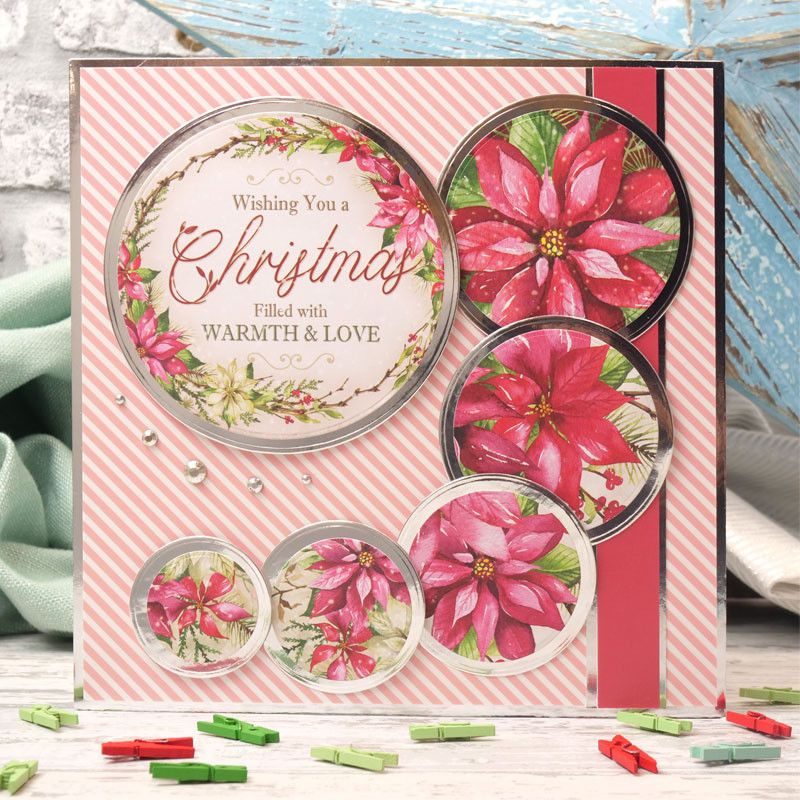 """Hunkydory 24 mixed Little Book of Card Toppers /""""Poinsettias/"""" see pictures"""