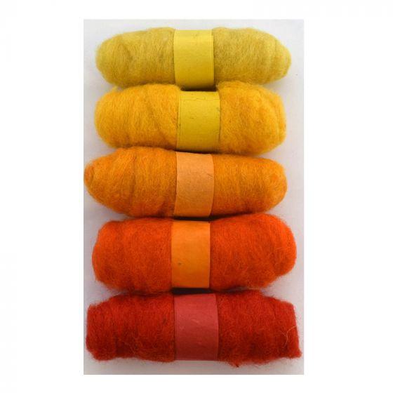 Felting Fibre pack - 5 x 20g balls - Yellows