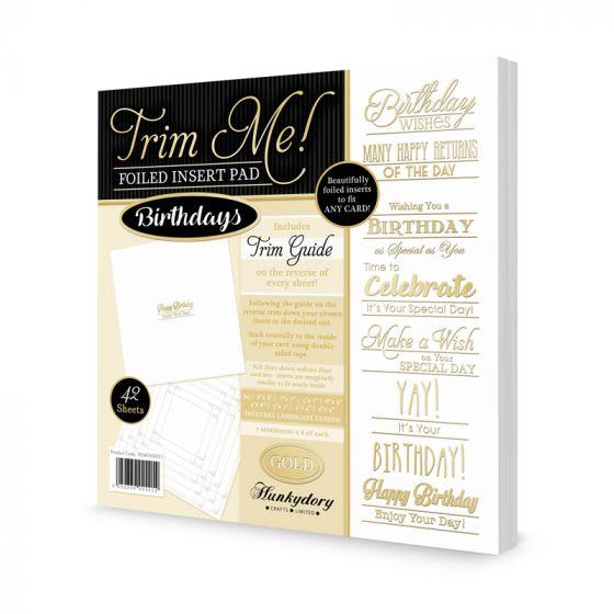 Trim Me! Foiled Insert Pad - Birthdays Gold