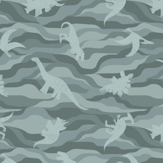 Lewis & Irene - Fat Quarter - Dino rock layers on grey green