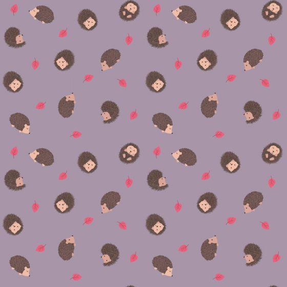 Lewis & Irene - Fat Quarter - Hedgehog on warm lavender