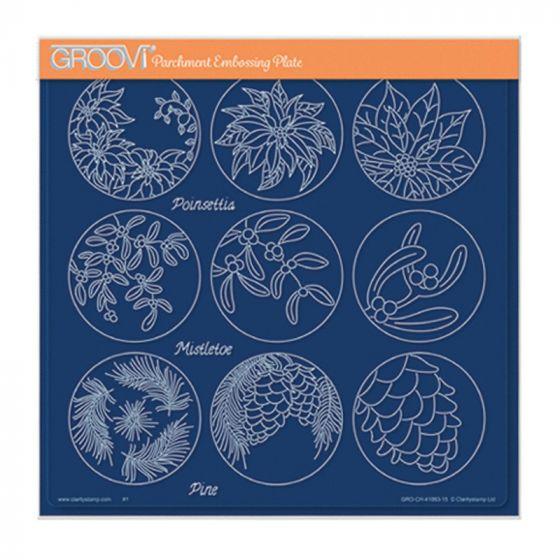 Linda's 123 - Poinsettia, Mistletoe & Pine A4 Square Groovi Plate