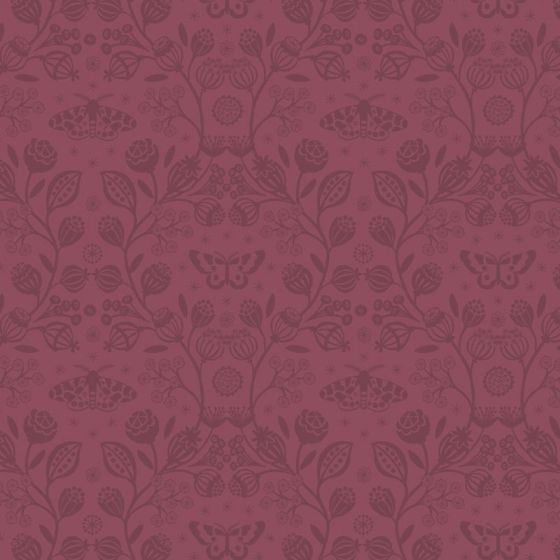 Lewis & Irene - Fat Quarter - Winter Garden mono claret