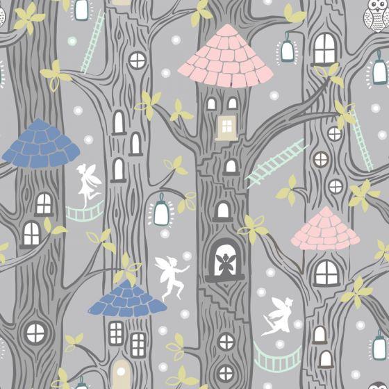 Lewis & Irene - Fat Quarter - Fairy Houses on grey