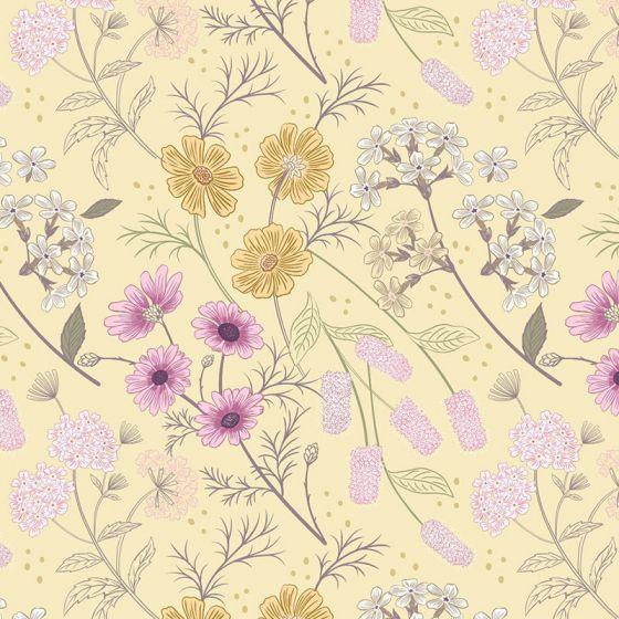 Lewis & Irene - Botanic Garden - Garden Floral on Pale Yellow