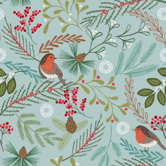 Lewis & Irene - New Forest Winter - Winter Blue Robin - Fat Quarter