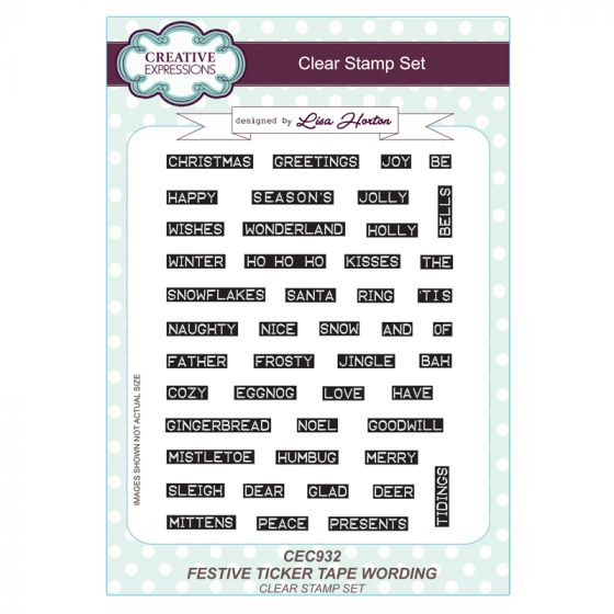 Festive Ticker Tape Wording A5 Clear Stamp Set