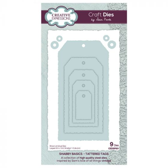 Creative Expressions Sam Poole - Shabby Basics Tattered Tags Craft Die x 9 dies (Largest die size 8cm x 15.8cm)