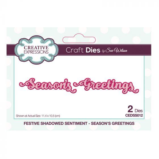 Festive Shadowed Sentiment Season's Greetings Craft Die