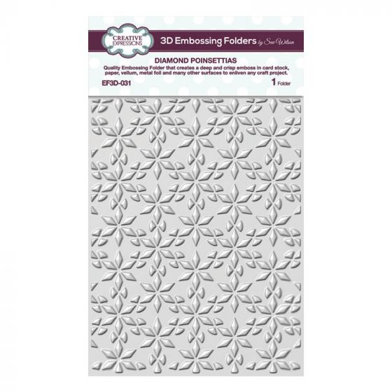 Diamond Poinsettias 5 3/4 x 7 1/2 3D Embossing Folder