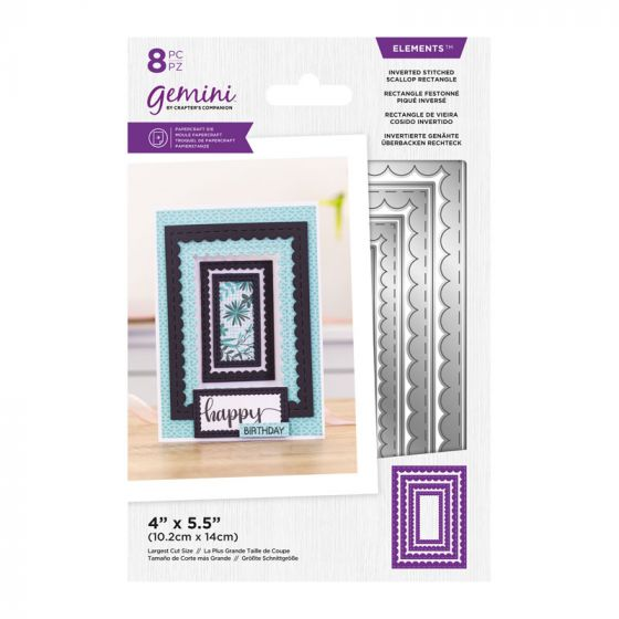 Gemini - Metal Die - Elements - Inverted Stitched Scallop Rectangle