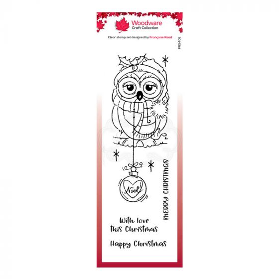 "Woodware Festive Clear Stamp - Bauble Owl (8"" x 2.6"")"