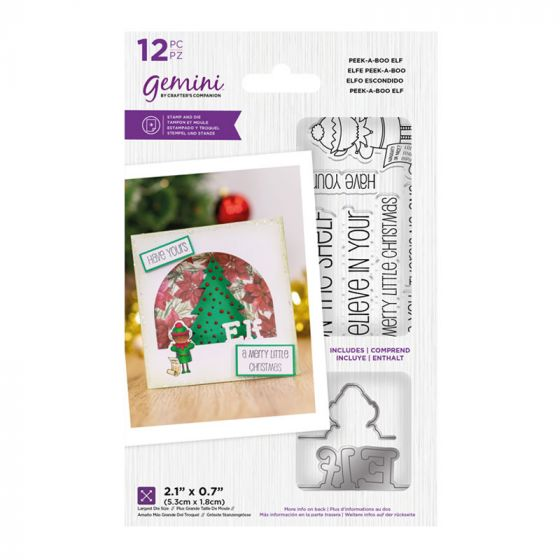 "Gemini - Stamp & Die - Peek-A-Boo Elf (includes 12 pieces: largest die size 2.1"" x 0.7"")"