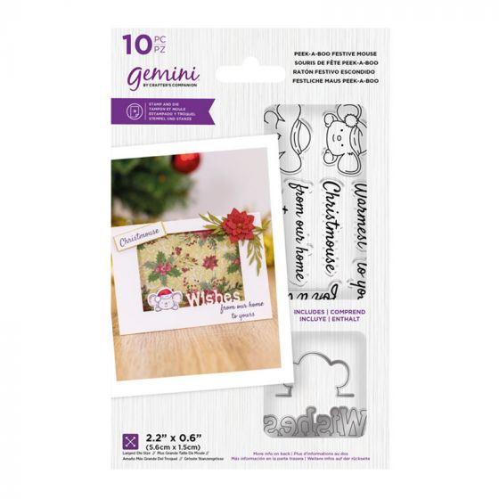 """Gemini - Stamp & Die - Peek-A-Boo Festive Mouse (includes 10 pieces: largest die size 2.2"""" x 0.6"""")"""