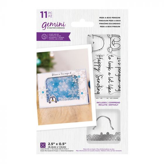 "Gemini - Stamp & Die - Peek-A-Boo Penguin (includes 11 pieces: largest die size 2.5"" x 0.5"")"