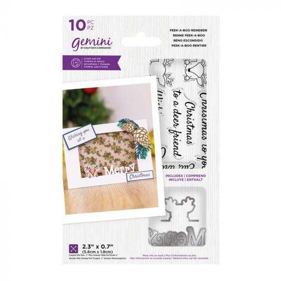 """Gemini - Stamp & Die - Peek-A-Boo Reindeer (includes 10 pieces: largest die size 2.3"""" x 0.7"""")"""