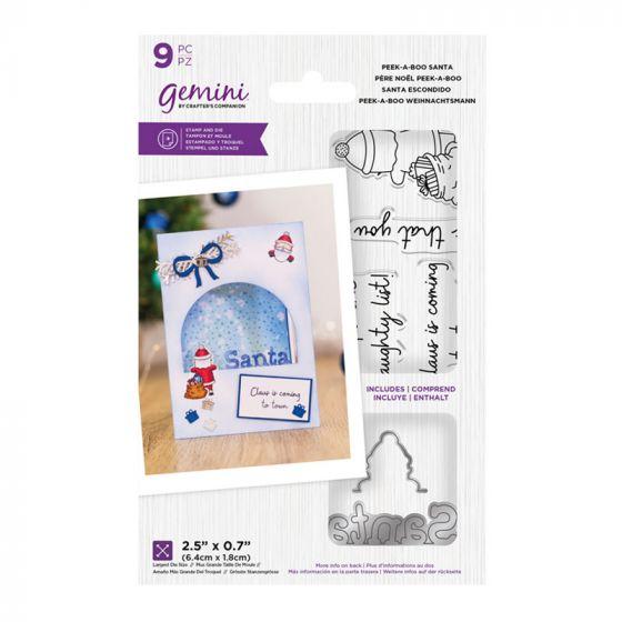 """Gemini - Stamp & Die - Peek-A-Boo Santa (includes 9 pieces: largest die size 2.5"""" x 0.7"""")"""