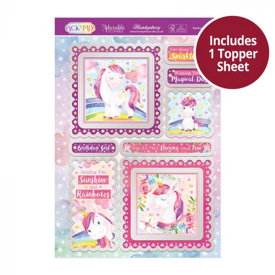 Pick 'N' Mix Topper Sheet - Rainbow Unicorn