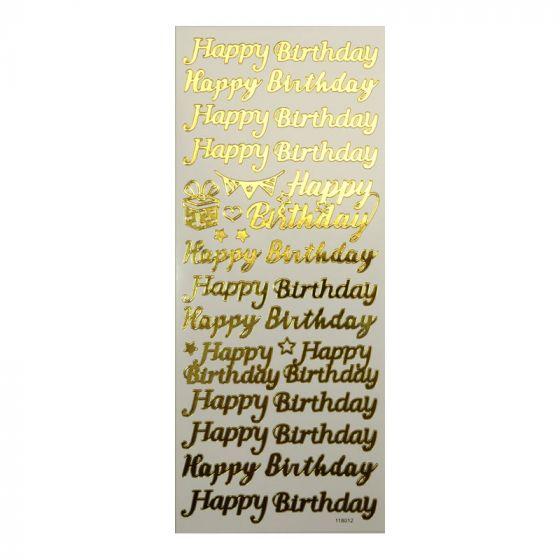 Peel-Offs - Happy Birthday Gold