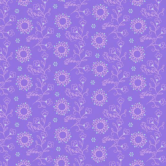 Sarah Payne - Elegant Peacock - Flowers on Purple (fat quarter)