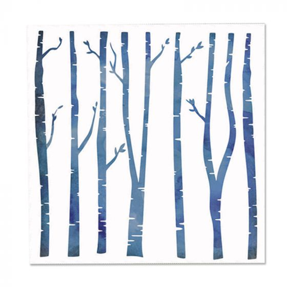 "Enchanted Christmas - Stencil - Birch Forest 6"" x 6"""