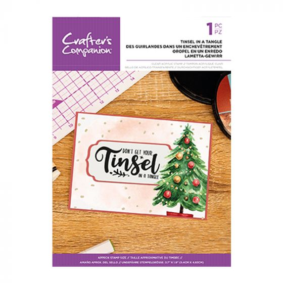 Clear Acrylic Christmas Quirky Sentiment Stamps - Tinsel In A Tangle