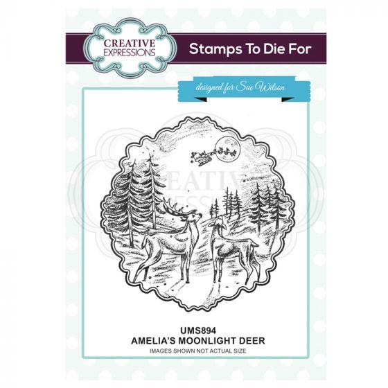 Amelia's Moonlight Deer Pre Cut Stamp