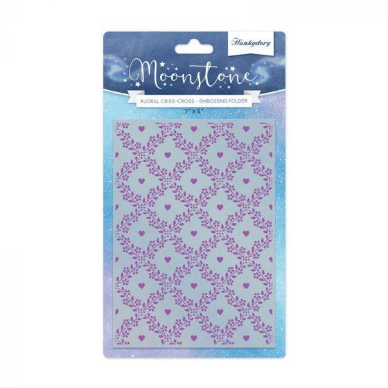 Moonstone Embossing Folder - Floral Criss-Cross