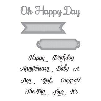 Spellbinders Dies - Oh Happy Day Stamp & Die Set (5 dies & 11 stamps)