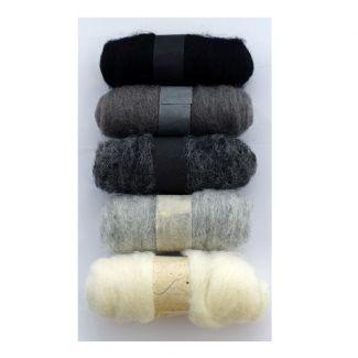 Felting Fibre pack - 5 x 20g balls - Greys