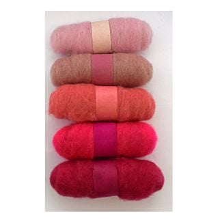 Felting Fibre pack - 5 x 20g balls - Pinks