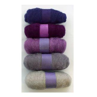 Felting Fibre pack - 5 x 20g balls - Purples