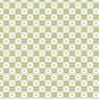 Lewis & Irene - Fat Quarter - Retro Daisy on mid grey