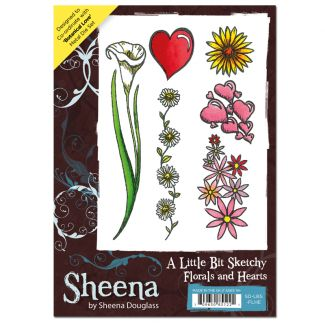Sheena A6 Rubber Stamp - Florals and Hearts