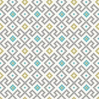 Lewis & Irene - Fat Quarter - Grey Greek tiles with gold