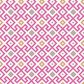 Lewis & Irene - Fat Quarter - Pink Greek tiles with copper