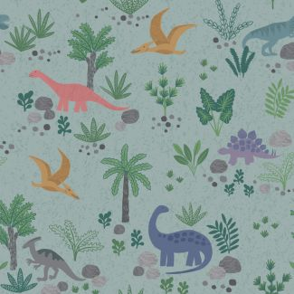 Lewis & Irene - Fat Quarter - Land Dinos on grey green