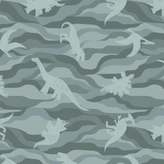 Lewis & Irene - Fat Quarter - Dino rock layers on grey green